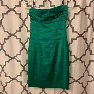 Bebe Green Bodycon Silk Dress
